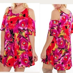 Plus Size Cold Shoulder Tunic Top Dress XL 2X 3X